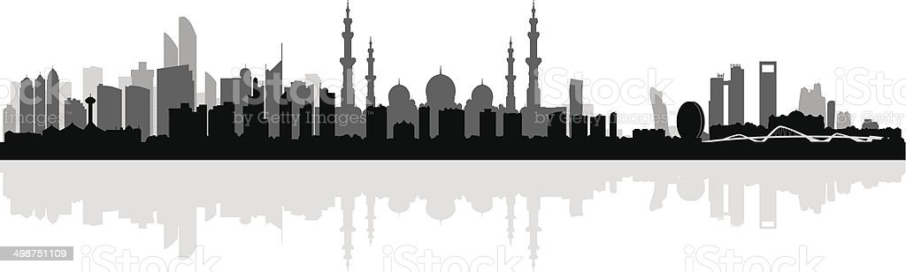 Abu Dhabi city skyline silhouette background vector art illustration