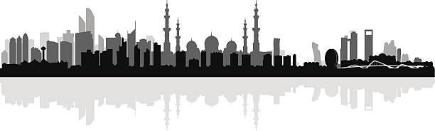 abu dhabi city skyline silhouette background - abu dhabi stock illustrations