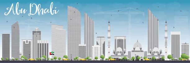 abu dhabi city skyline with gray buildings and blue sky. - abu dhabi stock illustrations