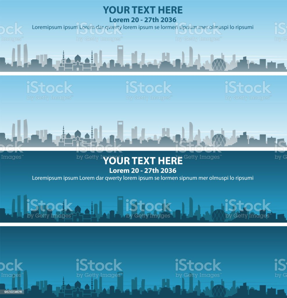 Abu Dhabi Skyline Event Banner vector art illustration