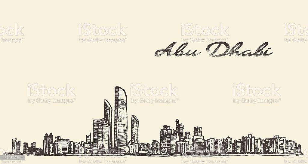 Abu Dhabi skyline illustration hand drawn sketch vector art illustration