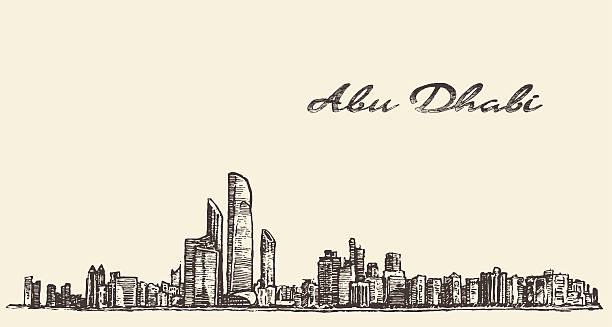 abu dhabi panoramę ilustracja strony ciągnione szkic - abu dhabi stock illustrations