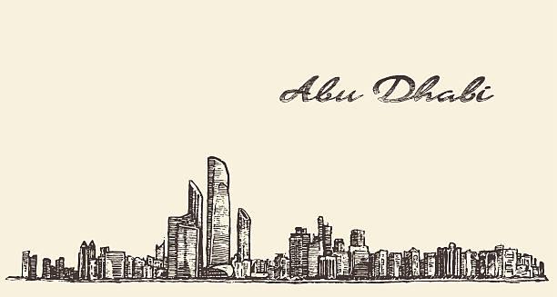 abu dhabi skyline illustration hand drawn sketch - abu dhabi stock illustrations