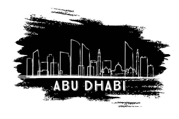 abu dhabi skyline silhouette. hand drawn sketch. - abu dhabi stock illustrations