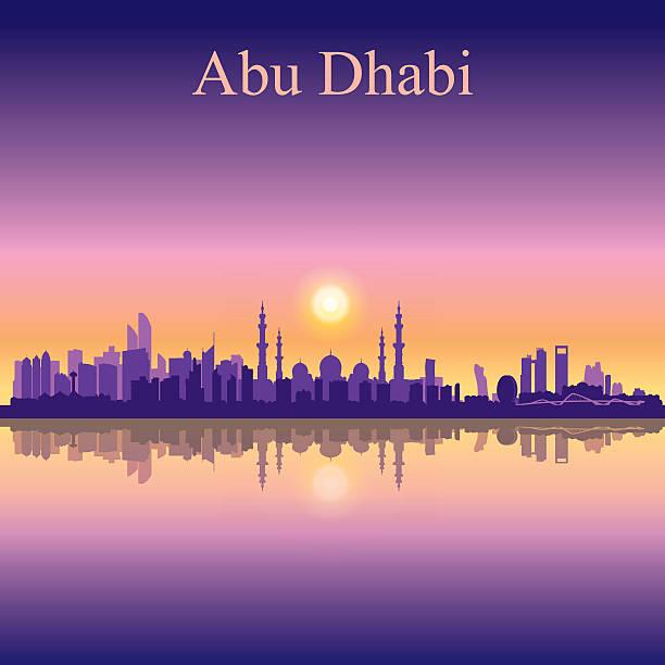 abu dhabi panoramę sylwetka na zachód słońca w tle - abu dhabi stock illustrations