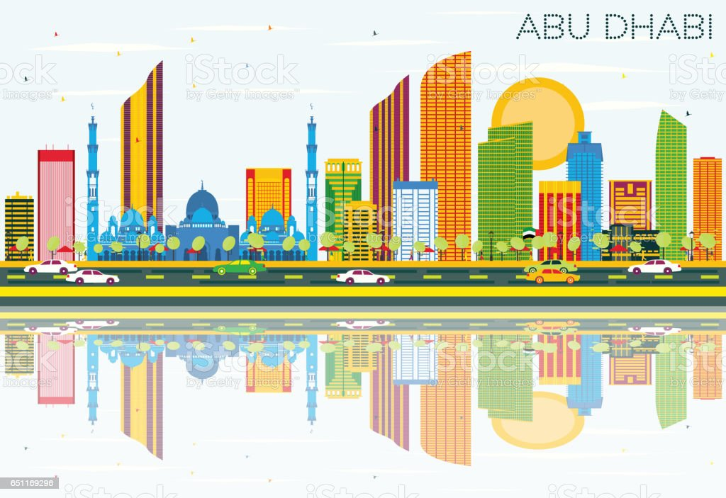 Abu Dhabi Skyline with Color Buildings, Blue Sky and Reflections. vector art illustration
