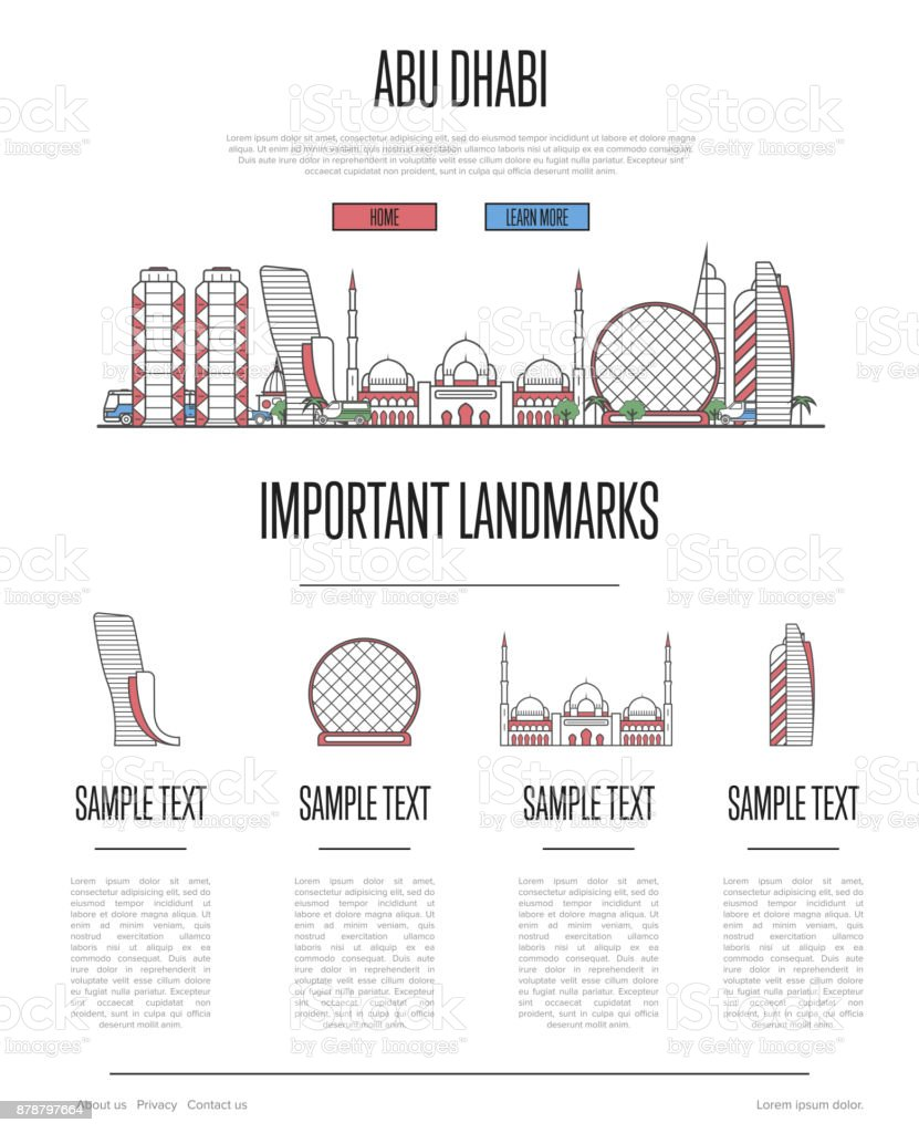Abu Dhabi travel infographics in linear style vector art illustration
