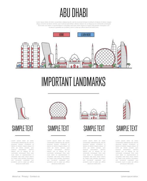abu dhabi travel infographics in linear style - abu dhabi stock illustrations