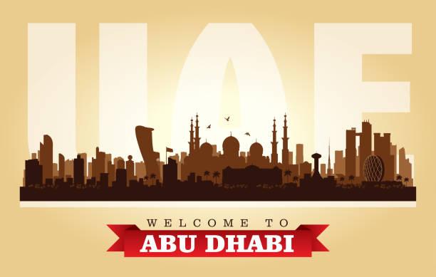 abu dhabi birleşik arap emirlikleri şehir manzarası siluet - abu dhabi stock illustrations