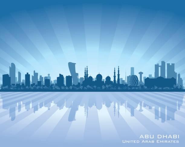abu dhabi uae city skyline silhouette - abu dhabi stock illustrations
