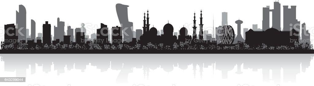 Abu Dhabi UAE city skyline silhouette vector art illustration