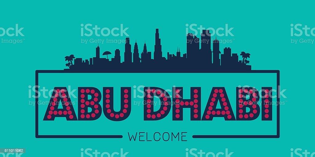 Abu Dhabi UAE city skyline typographic illustration vector art illustration