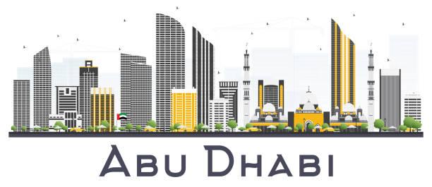 gri beyaz arka plan üzerinde izole binalar ile abu dhabi birleşik arap emirlikleri şehir manzarası. - abu dhabi stock illustrations