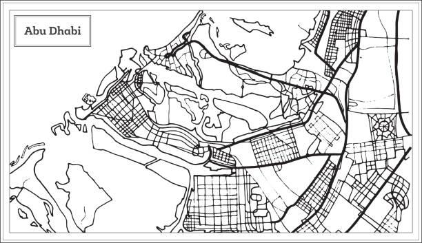 abu dhabi birleşik arap emirlikleri harita siyah ve beyaz renkte. - abu dhabi stock illustrations