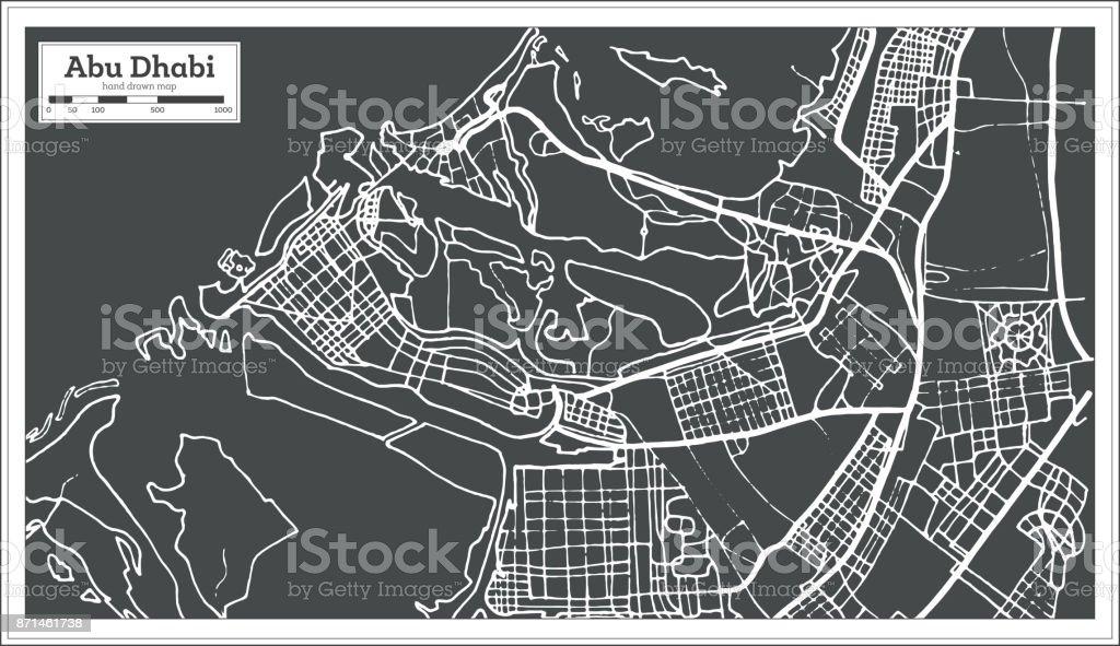 Abu Dhabi UAE Map in Retro Style. vector art illustration