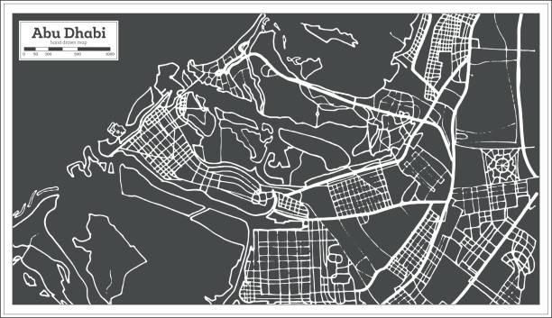 abu dhabi birleşik arap emirlikleri harita retro tarzı. - abu dhabi stock illustrations