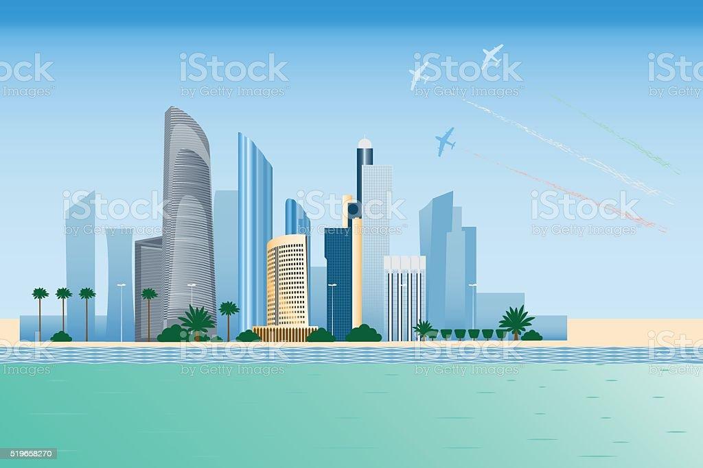 Abu-dhabi city vector art illustration