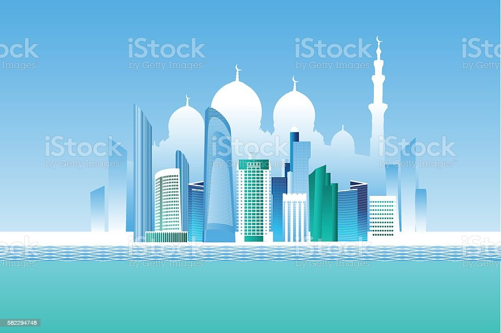 Abu-Dhabi cityscape and white mosque vector art illustration
