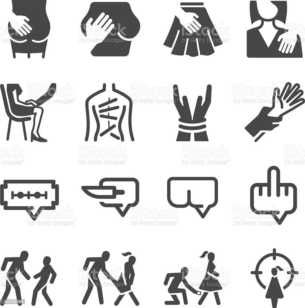 Abuse & Harassment icons set vector art illustration