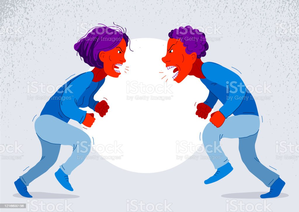 Abusive Relations Vector Concept Man And Woman Is Arguing Aggressively With  Hate Quarrel Between Husband And Wife Conflict Scream And Shout  Psychological Abuse Stock Illustration - Download Image Now - iStock