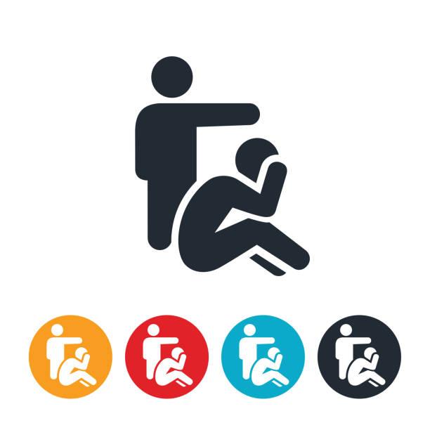 abusive relationship icon - domestic violence stock illustrations