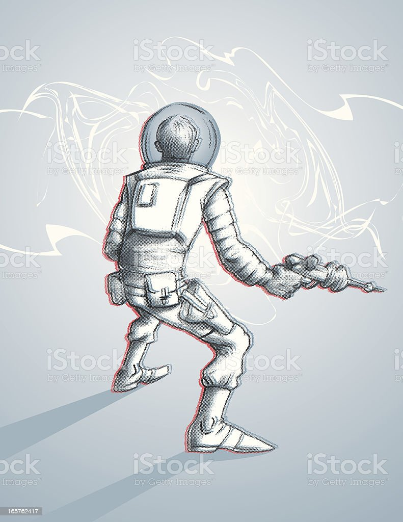 Abyss and The Astronaut..... to be continued vector art illustration
