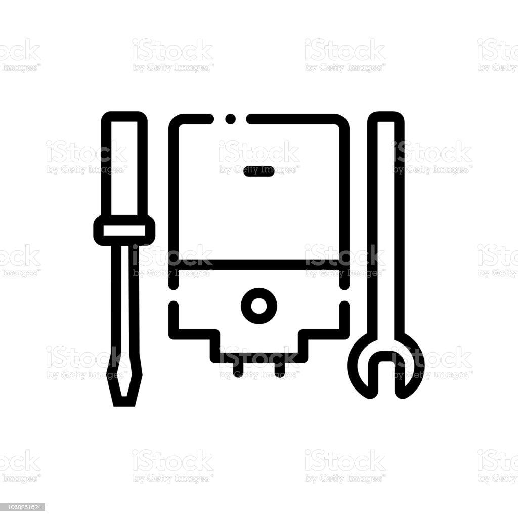 Ac service cleaner vector art illustration