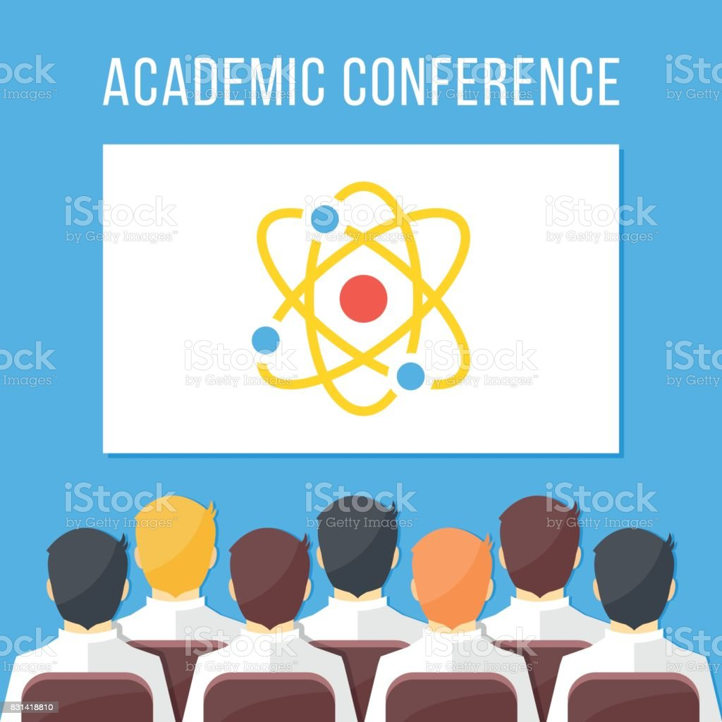 Academic conference, symposium, scientific event, science festival concepts. Group of scientists people, researchers sitting in hall. White board with atomic model. Flat design vector illustration vector art illustration