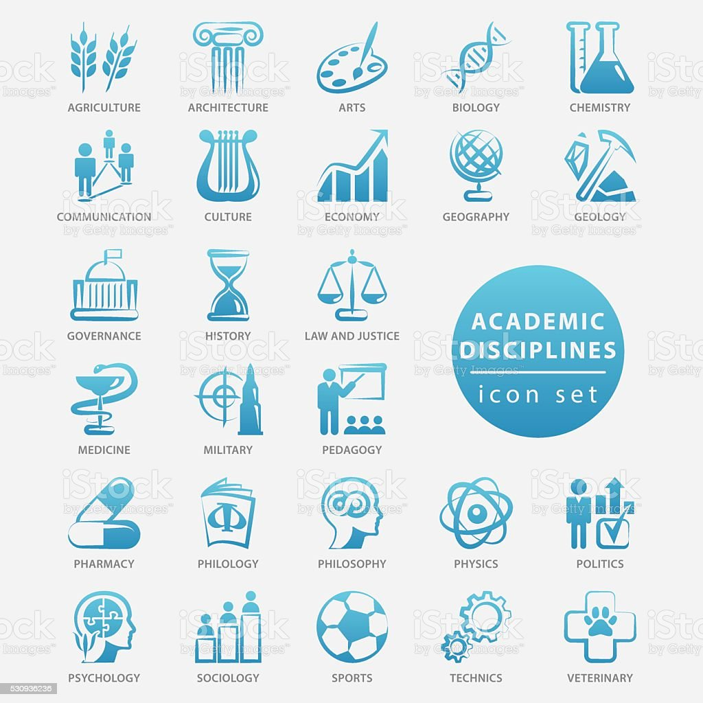 Academic disciplines icon set vector art illustration