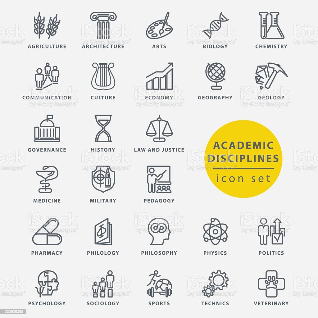 Academic disciplines icon set vector art illustration