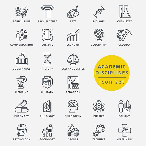 stockillustraties, clipart, cartoons en iconen met academic disciplines icon set - geschiedenis
