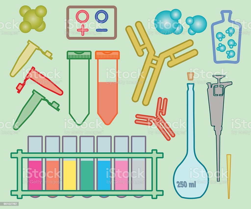 Academic icons: Biology vector art illustration