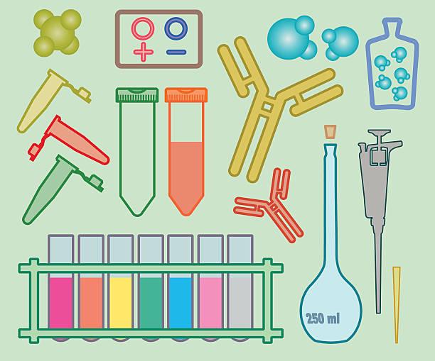 Academic icons: Biology vector art illustration