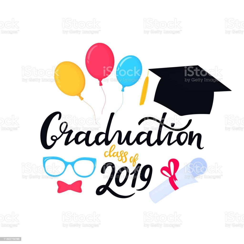 Academic mortarboard with Tassel. University Cap. Graduation class of...