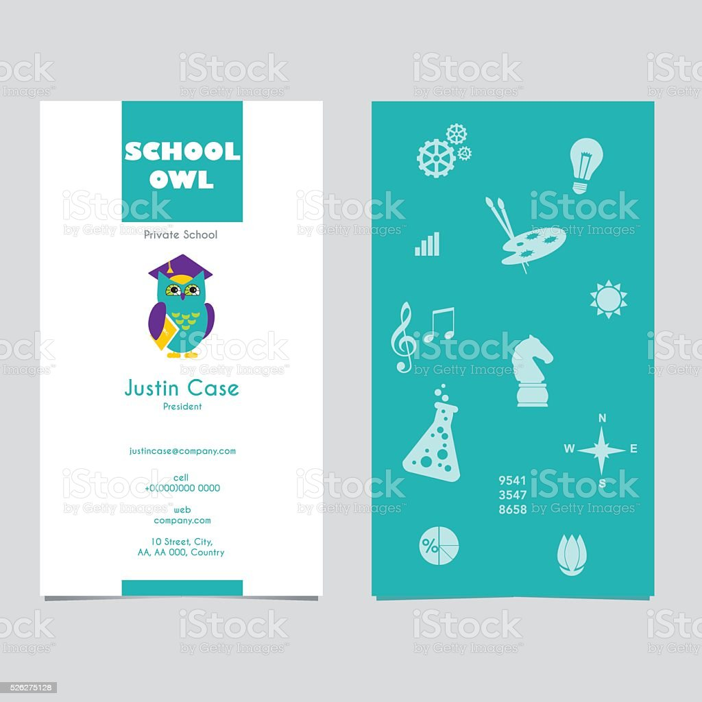 Academic Owl Mascot Business Card Stock Vector Art & More Images of ...