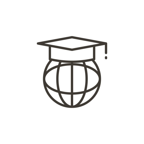 Academic student cap on a digital globe. Modern trendy vector illustration for online education, elearning, online courses Vector eps10 encyclopaedia stock illustrations