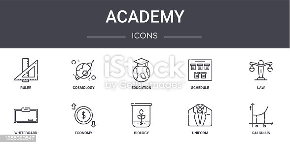 academy concept line icons set. contains icons usable for web, logo, ui/ux such as cosmology, schedule, whiteboard, biology, uniform, calculus, law, education