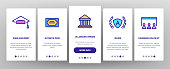 Academy Study Onboarding Mobile App Page Screen Vector. Graduation Cap And Diploma, College Building And Online Education In Academy Illustrations