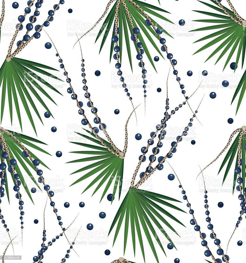 Acai Berries Seamless Pattern vector art illustration