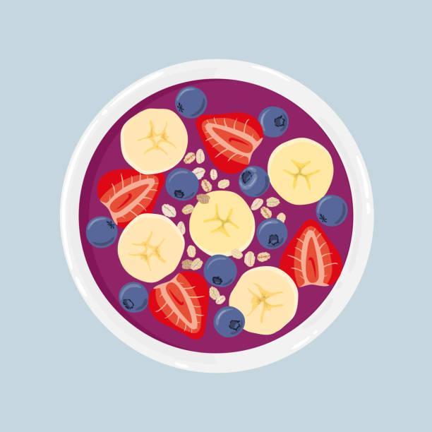 Acai bowl batido con plátano, arándanos, fresas y avena, aislado. Vista superior. Vector ilustración dibujado a mano. - ilustración de arte vectorial