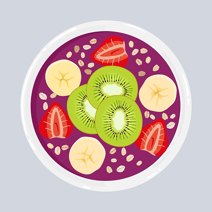 Acai smoothie bowl with kiwi, banana, strawberries and oats, isolated. Top view. Vector hand drawn illustration.