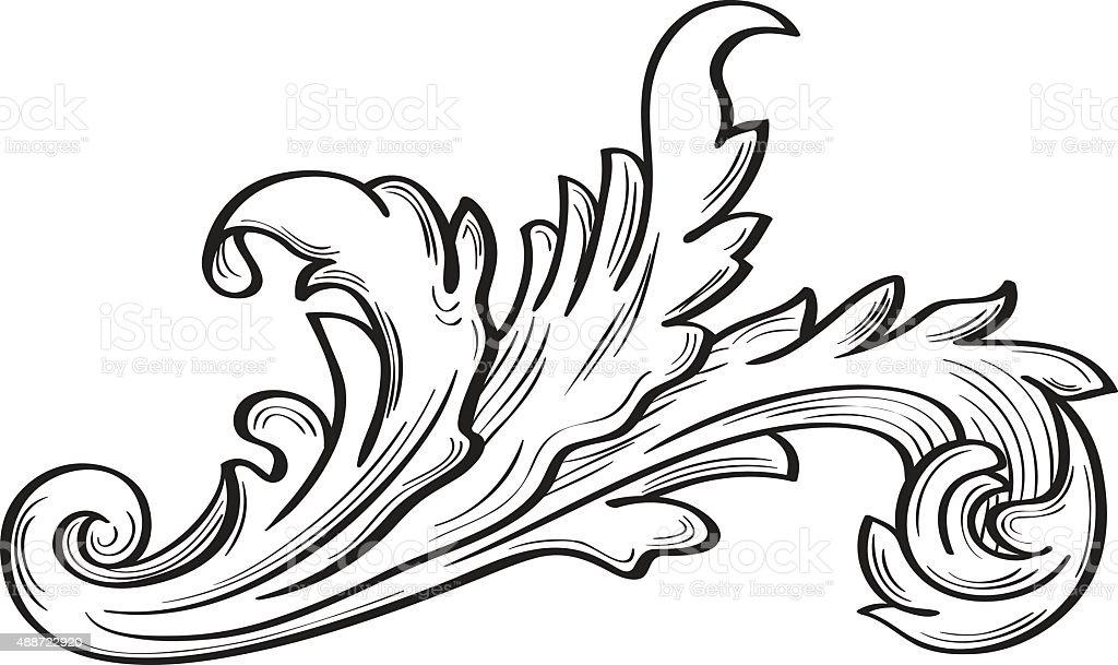 Acanthus scroll fine leaf vector art illustration