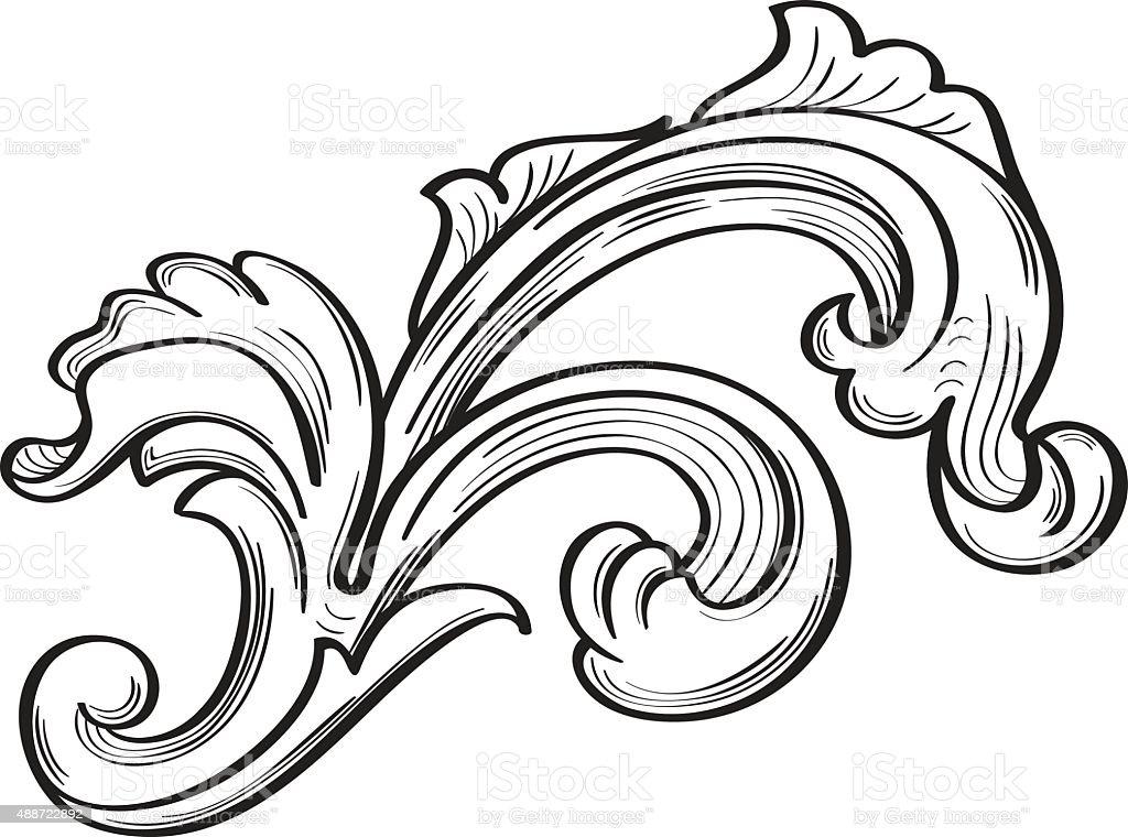 Acanthus scroll leaf vector art illustration