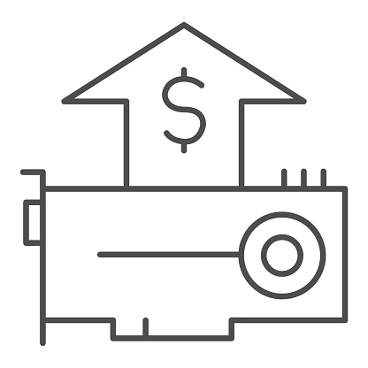 Accelerator card thin line icon. Hardware market share growth arrow and dollar symbol, outline style pictogram on white background. Computer sign for mobile concept, web design. Vector graphics.