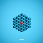abstraction from cubes with a central red cube, isometric image