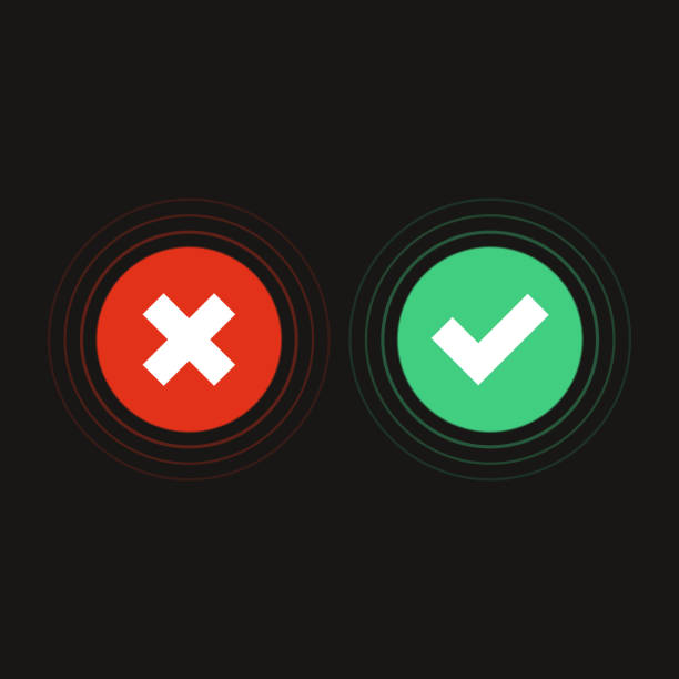 Accept, decline button. Flat design. Vector. imitation stock illustrations