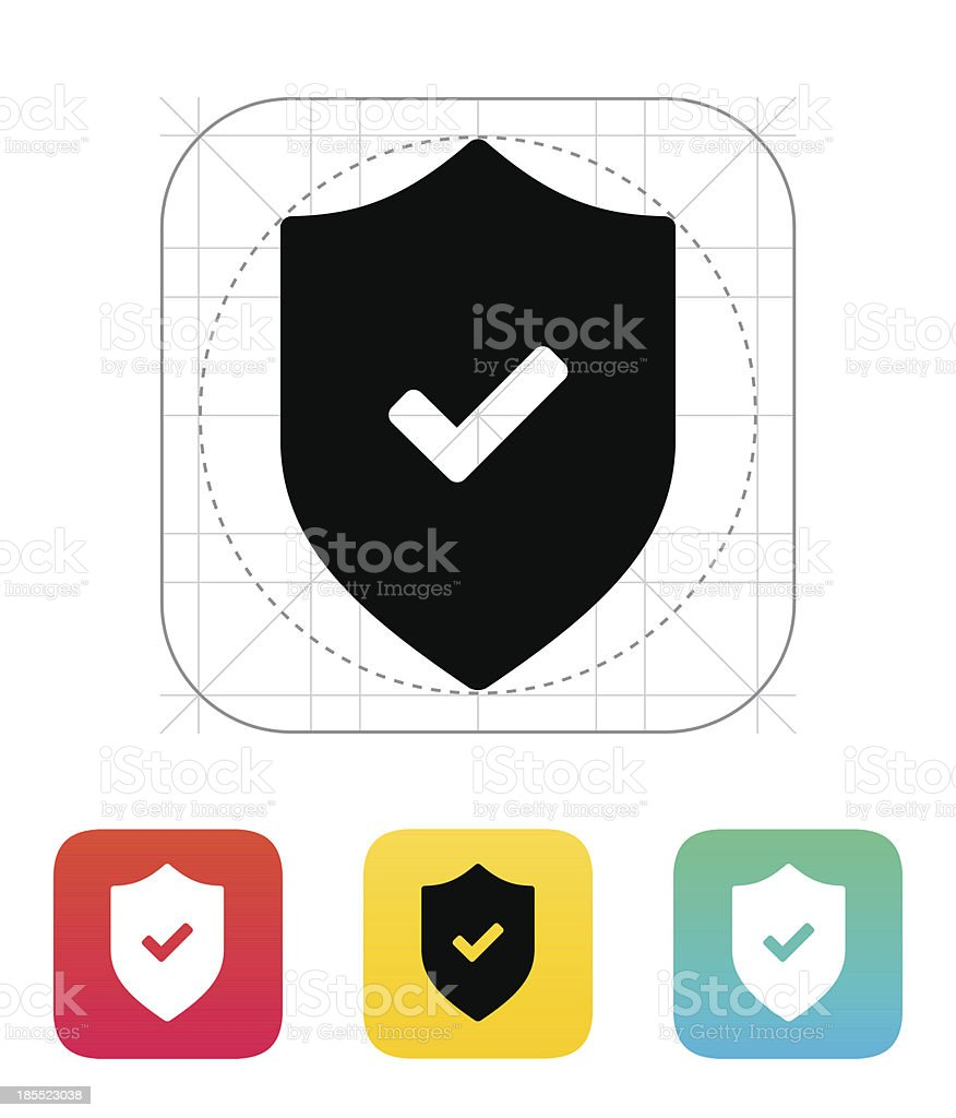 Accept shield icon. royalty-free accept shield icon stock vector art & more images of blue