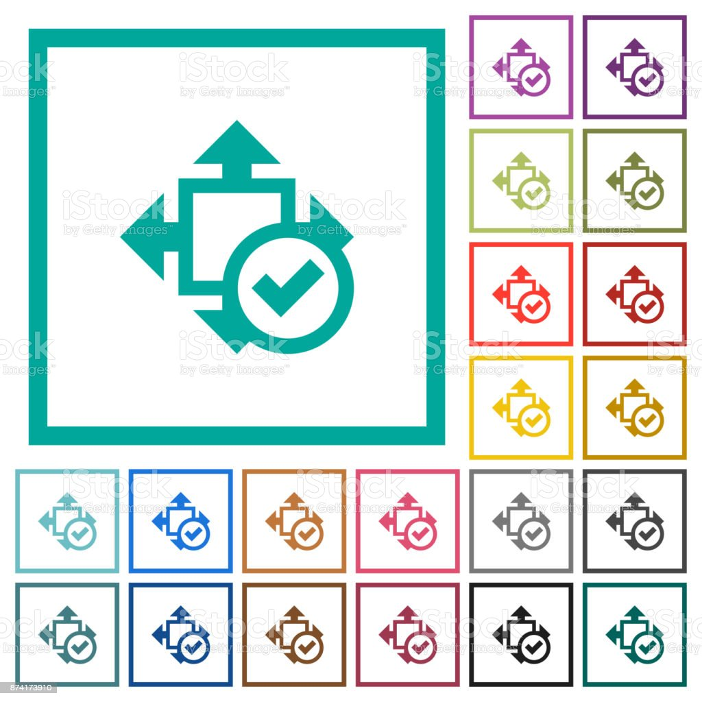 Accept size flat color icons with quadrant frames vector art illustration