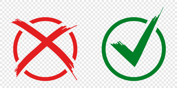 Acceptance and rejection symbol vector buttons for vote, election choice. Circle brush stroke borders. Symbolic OK and X icon isolated on white.Tick and cross signs, checkmarks design. Acceptance and rejection symbol vector buttons for vote, election choice. Circle brush stroke borders. Symbolic OK and X icon isolated on white.Tick and cross signs, checkmarks design rejection stock illustrations
