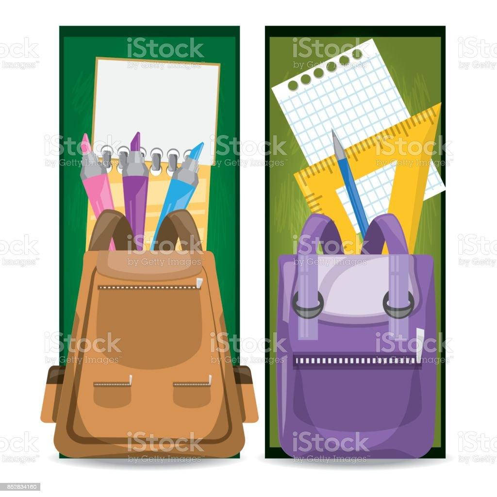accesories school tools to study education vector art illustration
